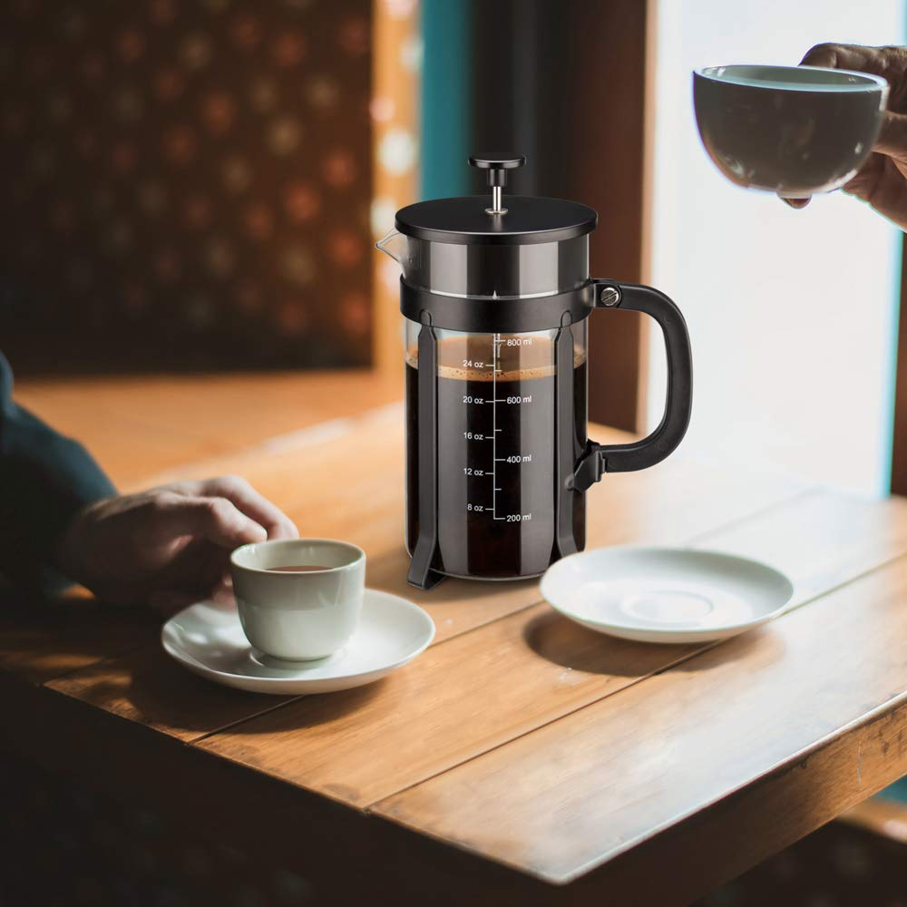 Chrider French Press Coffee Maker (34 oz 8 Cups) Coffee Press with 304 Stainless Steel Stand and 4 Filter Screens, Precise Scale Easy to Clean Durable Heat Resistant Borosilicate Glass - Black by Chrider (Image #7)