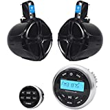 Rockville RGHR2 Marine Bluetooth Receiver, USB+Remote+(2) 8 Wakeboard Speakers