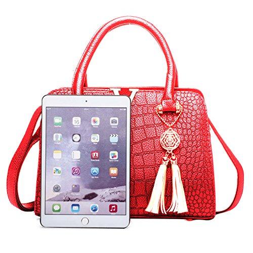 36f815ad7b3c9 Mufly Damen Handtaschen Fashion Handtaschen für Frauen PU Leder Schulter  Taschen Messenger Tote Taschen Umhängetasche (Rot)  Amazon.de  Koffer