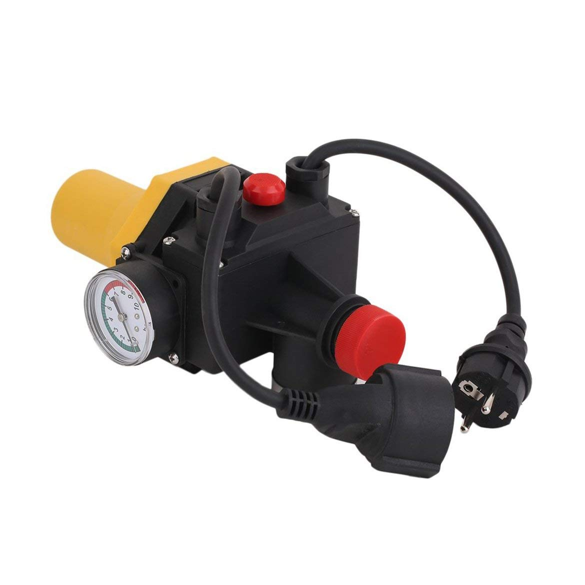 JohnJohnsen PC03.C Shortage Protective Water Pump Automatic Pressure Control Switch Electronic Switch with Pressure Gauge EU Plug Yellow /& Black