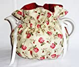 Pretty Roses Tea Pot Cozy - Fits 6 Cup Teapot - Reversible - Tea Pot Not Included