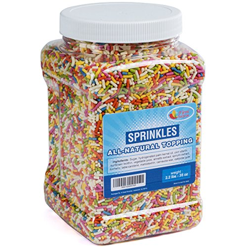 Natural Sprinkles Rainbow - Rainbow Sprinkles with No Artificial Colors - Carnival Sprinkles in Resealable Container, 2.2 LB Bulk Candy