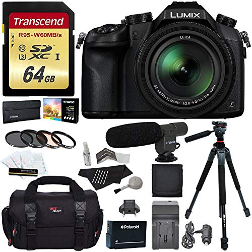 Panasonic Lumix DMC-FZ1000 4K QFHD/HD 16X Long Zoom Digital Camera (Black) + Transcend 64 GB UH3 SD Card + 60 inch Tripod + Filters + Spare Battery + Camera Bag + Accessory Bundle
