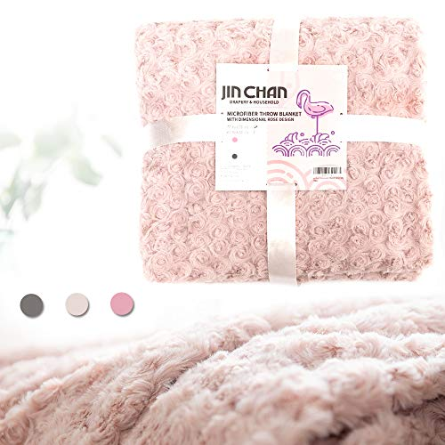 jinchan Dimensional Rose Design Throw Blanket 50x60, Pink (Rose Fleece Blanket)