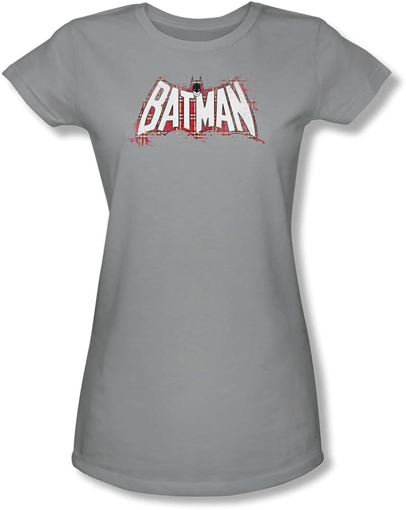 Batman Plaid Splat Logo Officially Licensed Juniors T Shirt Silver