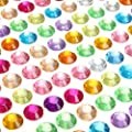 PARTH IMPEX 1699 Pieces 3mm 4mm 5mm 6mm Bling Multicolor Self Adhesive Rhinestone Sheet Acrylic Diamante Jewel Gem Stickers for Laptop Scrapbooking Embellishments DIY Arts Crafts Body Face Nails