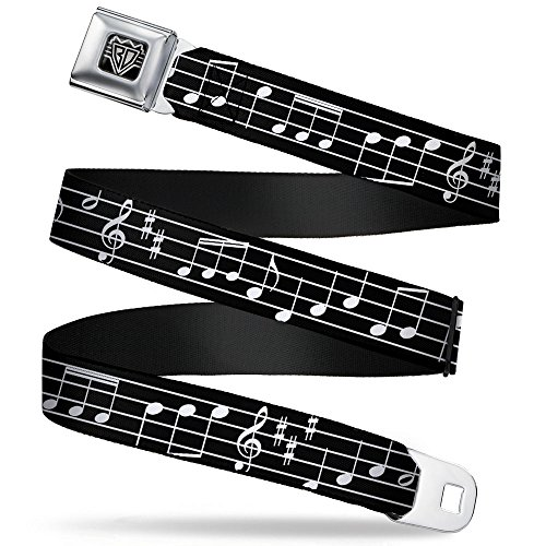 Buckle-Down Seatbelt Belt - Music Notes Black/White - 1.0