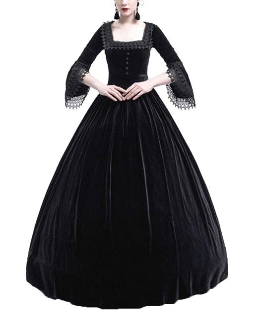 Kasen Mujeres Vintage Elegante Encaje Vestido Fiesta Halloween Apriete La Cintura Maxi Disfraz