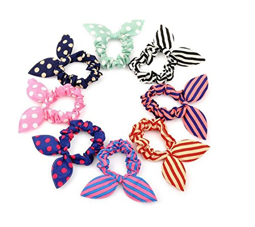 Diameter 2.3'' Rabbit Ear Elastic Hair Tie Rubber Band Hairband Ponytail Holder Elastic Cotton Stretch Hair Styler Styling Tools Headband Scrunchie Hair Accessories Pack of 10pcs (Color Random) Bowknot Rabbit