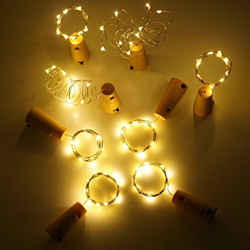 LoveNite Wine Bottle Lights with Cork, Warm White 10 Pack Battery Operated LED Cork Shape Silver Copper Wire Colorful Fairy Mini String Lights for DIY, Party, Decor, Christmas, Halloween,Wedding by LoveNite (Image #5)
