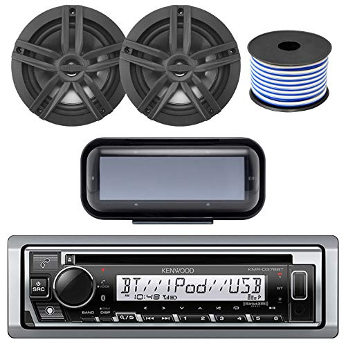 Kenwood Bluetooth CD Radio Receiver In-Dash Marine Boat Audio Bundle with Pair of Enrock 6.5 Dual-Cone Stereo Speakers, Stereo Waterproof Cover, 18g 50ft Speaker Wire (Black/Chrome)