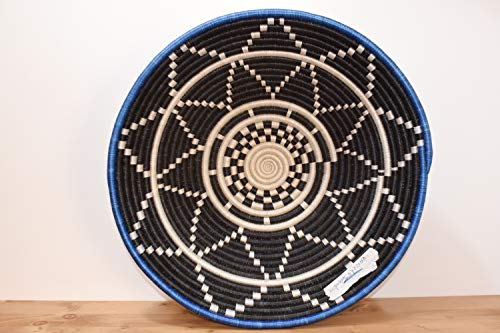 X-Large Hand Woven African Basket - Decorative Woven Bowl - Handmade in Rwanda 15''\16'' White, Denim Blue, Black, - Basket Woven Hand Africa