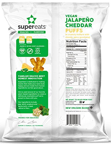SuperEats High protein Puffs, Jalapeno Cheddar, 3 Ounce (Pack of 12)