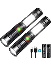 LED Flashlight USB Rechargeable Flashlight High Power COB Workshop Flashlights (Including 18650 Battery) Small Lightweight Walking Powerful Tactical Camping Flashlights for Outdoor Hiking Sports
