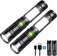 LED Flashlight USB Rechargeable Flashlight High Power COB Workshop Flashlights (Including 18650 Battery) Small