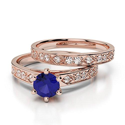 Or Rose 18carats 1/2ct G-H/VS sertie de diamants ronds Cut Saphir et mariée Bague de fiançailles et ensemble de Agdr-1151