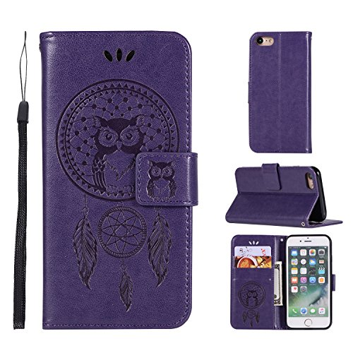 (iPhone 7 Wallet case,iPhone 8 Wallet case,Ztongy Flip Case Embossed Campanula Owl PU leather Soft TPU Cash card slot Bracket Function Protective Cover for iPhone 7 /iPhone 8(Purple1))