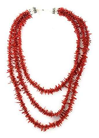Southwestern Red 3 Strand Italian Coral Sterling Silver 18