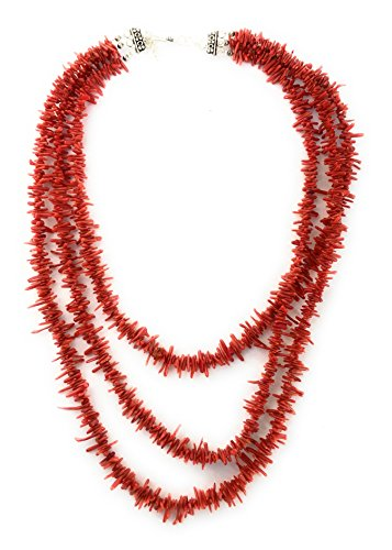 Christmas Last Minute Sale, Southwestern Red 3 Strand Italian Coral Sterling Silver 18'' Necklace by Masha