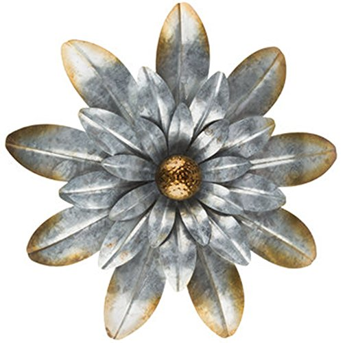 Cheap 15″ Large Oversized Silver Metal Flower Wall Decor with Gold Edges and Flower Petals