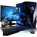 """VIBOX Sharp Shooter Water Cooled Desktop Gaming PC Package 10 - with WarThunder Game Bundle, 22"""" Monitor, Headset, Gamer Keyboard & Mouse (4.2GHz AMD FX Eight Core Processor, Nvidia Geforce GTX 960 Graphics Card, 120GB Solid State Drive SSD, 2TB Hard Drive, 16GB RAM, Blue Gamer Case, No Operating System)"""
