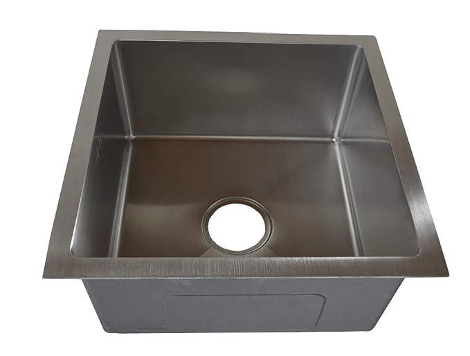 1 Handgefertigte Einbauspüle Spülbecken Edelstahl 304 Spüle eckig 1 Becken 44x44