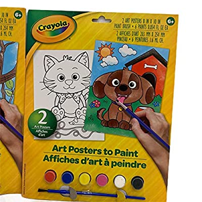 Crayola Paint Your Own Poster Set of Two Art Posters Textured Paper Paint Paint Brush Bundle Two Packs Geico Crocodile Cat Dog Let Little Ones Create Paintings to Display!: Toys & Games