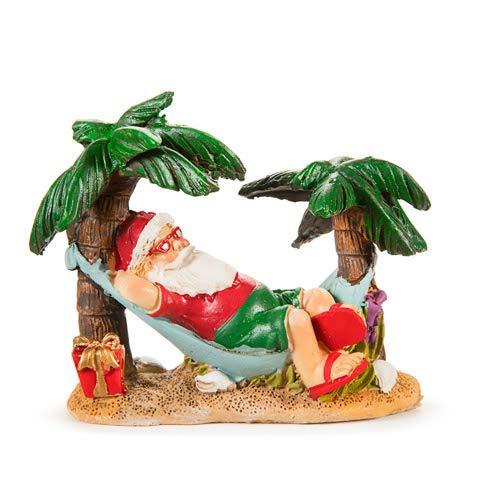 Darice 30036681 Miniature Beach Santa in Hammock Mini Christmas Figurine Beach Themed Coastal Home Decor, Fairy Garden Decorations, Dollhouse, Seasonal Holiday Home Decor Accessories for $<!--$14.99-->