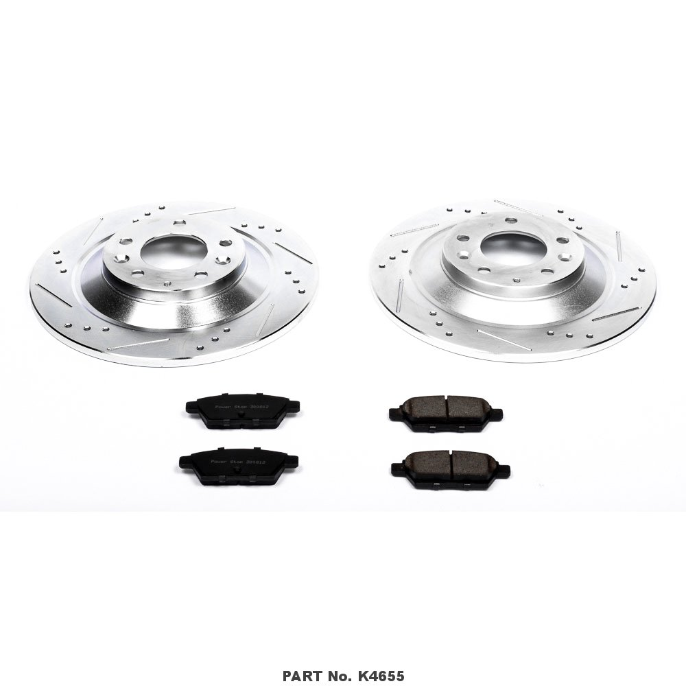 Power Stop K4655 Rear Z23 Evolution Brake Kit with Drilled//Slotted Rotors and Ceramic Brake Pads