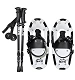 ALPS Light Weight Snowshoes for Kids, Boys & Girls & Pair Retractable Anti Shock snowshoes pole (17 INCHES)