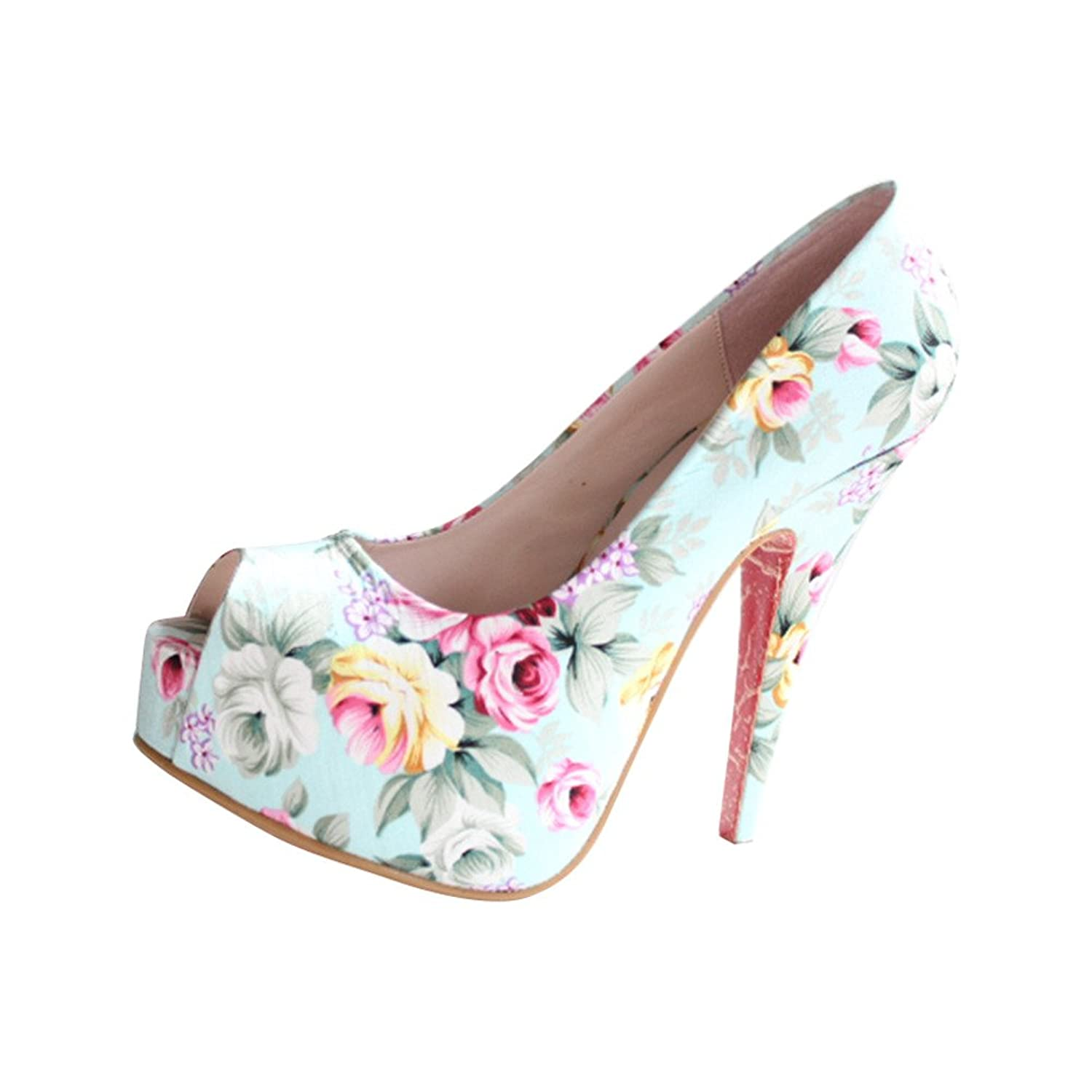2016 Spring New Women's Retro Printing Peep Toe Platform Stiletto Pump