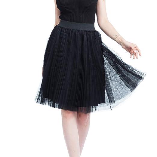 Women 4 Layers Tulle Mesh Skirt Pleated Skirt Princess ...