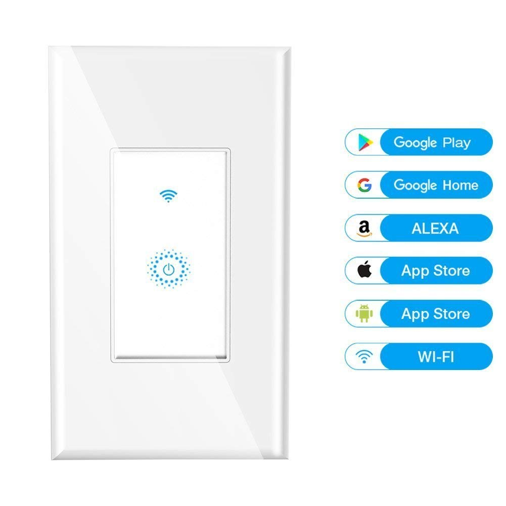 Smart Switch, NaamaSmart WiFi Light Switch Works with Amazon Alexa and Google Home, Requires Neutral Wire, Easy In-Wall Installation, Control Light Remotely via App, No Hub Required