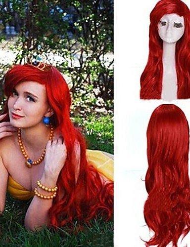 Mode pelucas wigstyle oscuros rojos gelockte Sirenita Princesa Ariel peluca sintética Mujeres extra larga