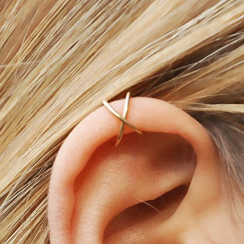 Elegant Earrings, Hoshell No Piercing Ear Cuff Clip On Earrings Fake Ear Nose Cartilage Earrings Ring for Girl Women (❀ Gold)