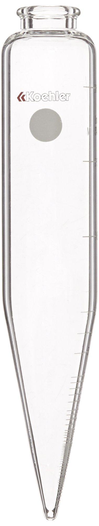 Koehler K61101 Long Centrifuge Tube, 100mL Capacity, 8'' Length, Marked in mL