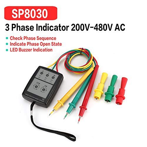 SP8030 Probador de rotación trifásico Detector de fase digital LED Zumbador Medidor de secuencia de fase Probador de voltaje 200V-480V CA: Amazon.es: ...
