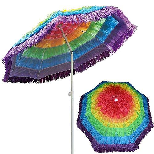 ach Umbrella Tropical Thatch Hawaiian Style Straw Umbrella UPF 50+ with Tilt Multicolor Green (Palapa Patio Umbrella)
