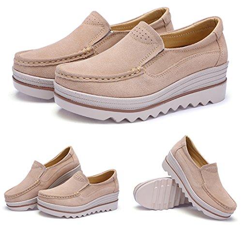 DADAWEN Women's Slip-on Moccasins Low Top Platform Wedge Thick Heel Walking Shoes apricot rNkObLlq