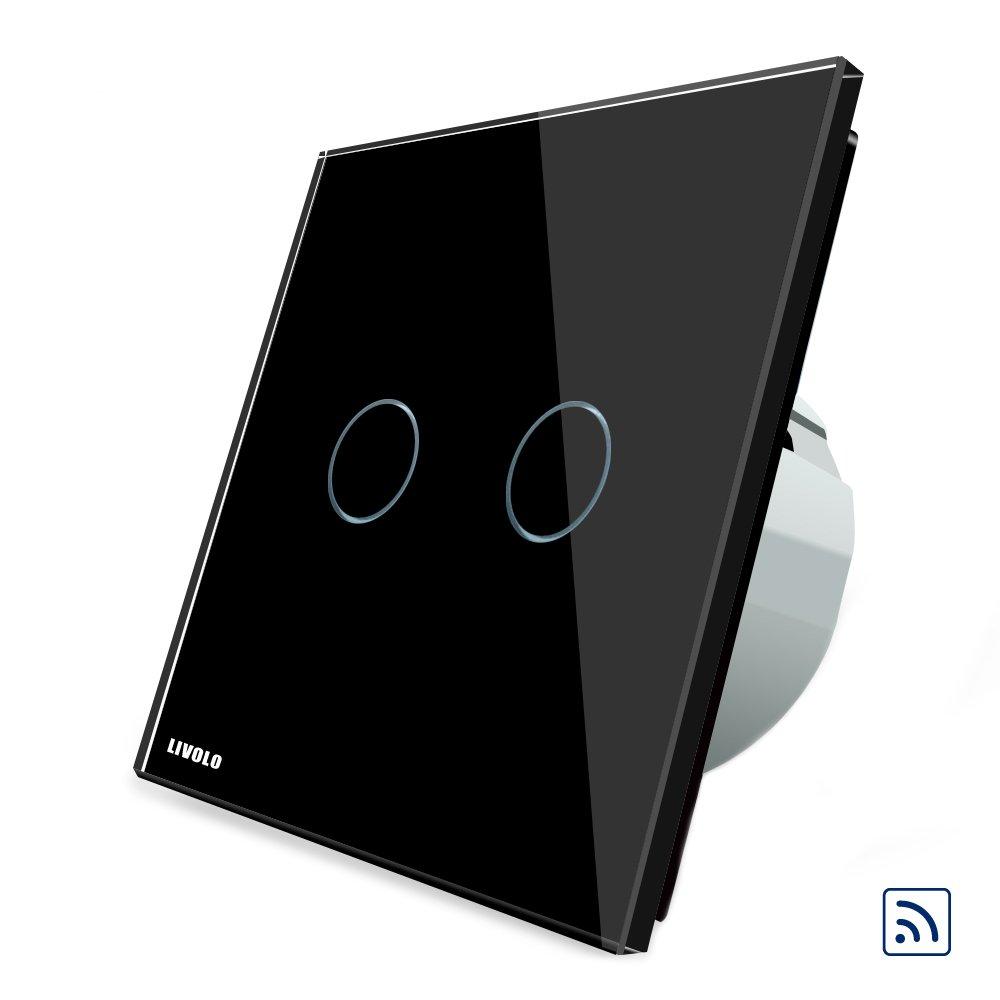 HTAIYN Fernbedienungs- und Berührungsschalter für schwarze Glasscheiben EU-Standard VL-C702R-12 LED-Licht