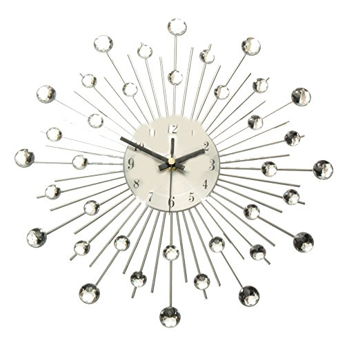 - Silver Modern Metal Wall Clock Clear Diamante Crystal Large Home Office Decor US