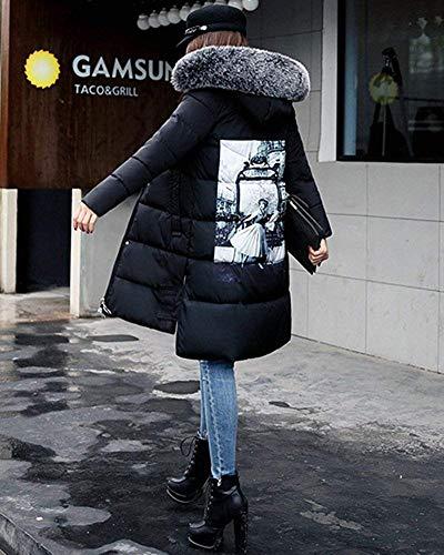 À Manteau Femmes Chaud Noir Manches Taille D'hiver En Pour Longues Oudan L Duvet Avec coloré AwxBzwX