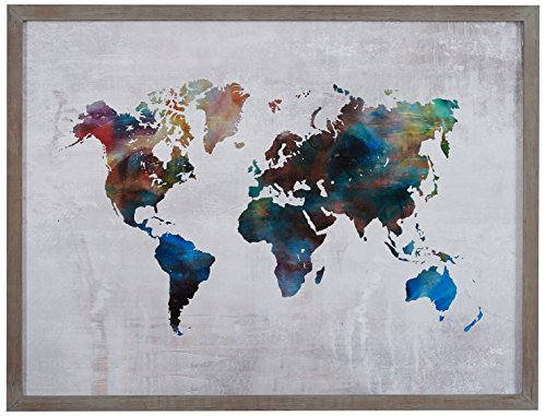 "Rivet Multi-Colored World Map Print Wall Art in Gray Wood Frame, 20.5"" x 16.5"""