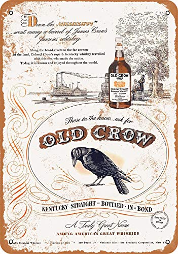 Wall-Color 9 x 12 Metal Sign - 1947 Old Crow Whiskey - Vintage Look (Crow Sign)