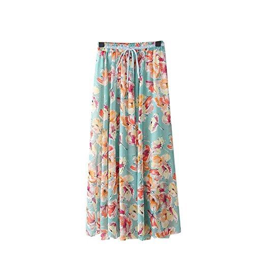 Kaxuyiiy Femmes Bohmien Fleur Oiseau 2017 Mode Taille lastique Plage fte Maxi t Jupe Longue Long Skirt Fleur Verte
