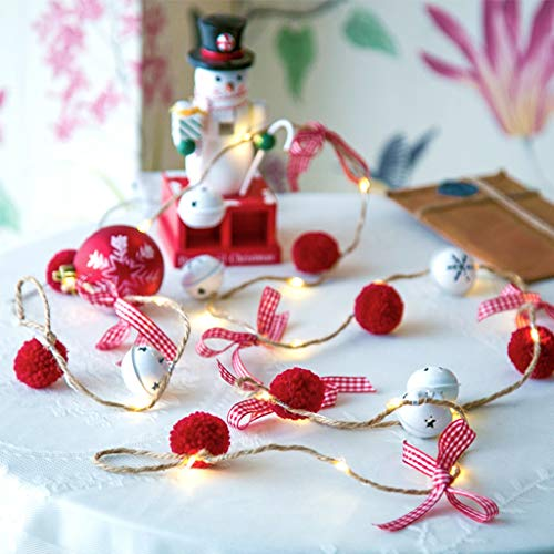 Christmas Jingle Bell String LightWith Fuzzy WoolBalls and Bowknot Battery Operated, 6.56ft 20 LEDs Linen Copper OrnamentsWire for Festival, Evening, Gift, Party, Indoor, Outdoor, Garden, Bedroom