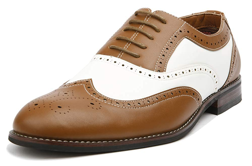 Saddle Shoes: Black & White Saddle Oxford Shoes Ferro Aldo Mens Causal Wingtip Oxfords Modern Spectator Style  AT vintagedancer.com