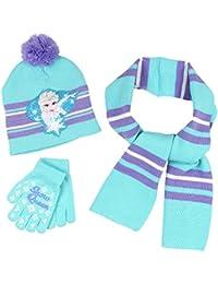 Frozen Elsa Girls 3 piece Beanie Hat Gloves and Scarf Set
