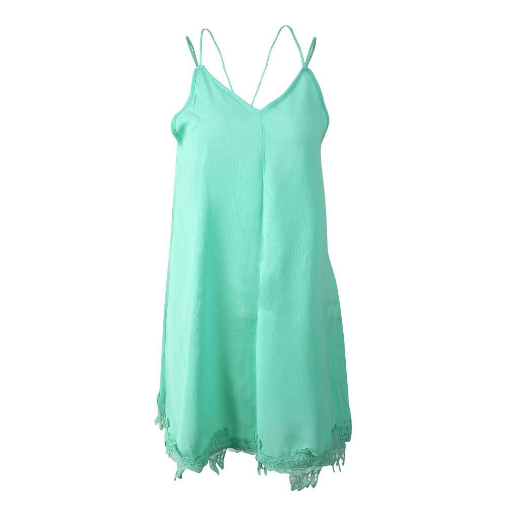 YAliDA boutique skirt, 2019 clearance sale Sexy Womens Lady Casual Solid Stitching V-Neck Sleeveless Mini Dress(X-Large,)