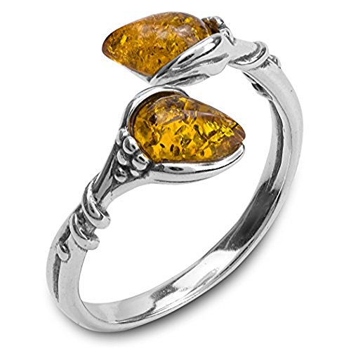 Amber Sterling Silver Open Ring